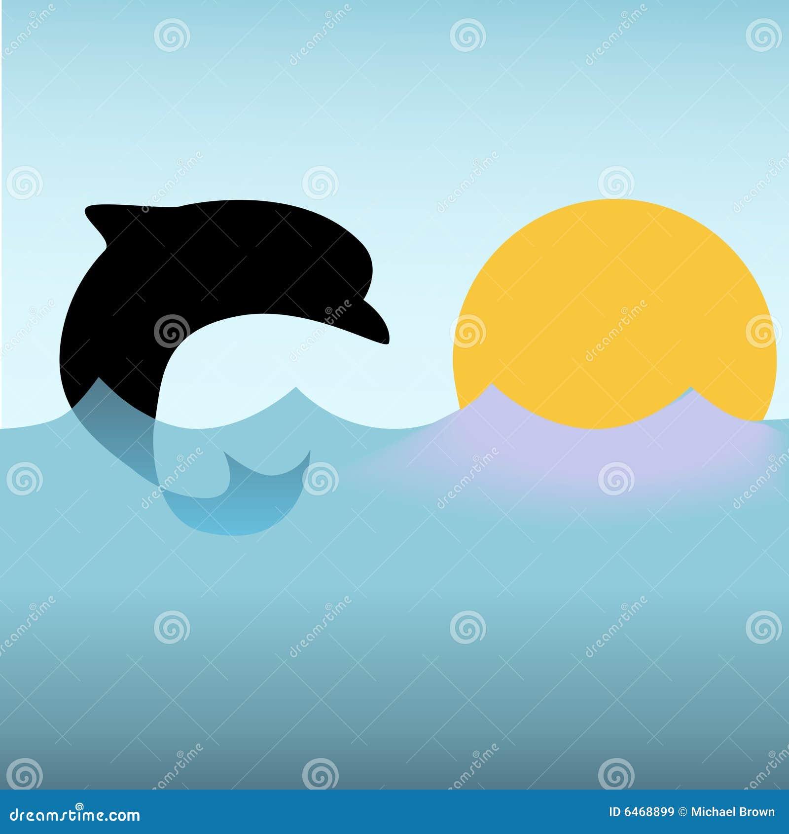 Delfinów skoków sunset fale oceanu