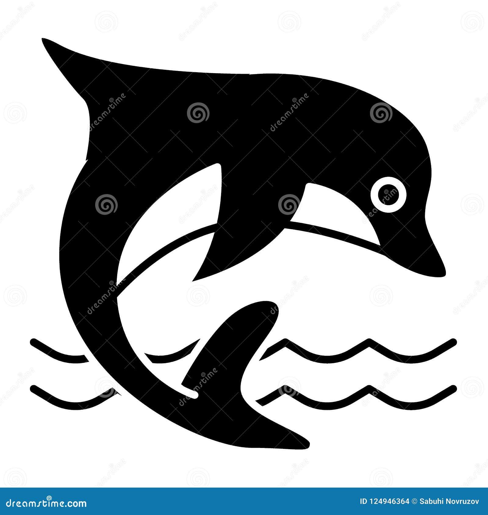 Delfin bryły ikona Nadwodnego ssaka wektorowa ilustracja odizolowywająca na bielu Delfinu doskakiwanie w dennym glifu stylu proje
