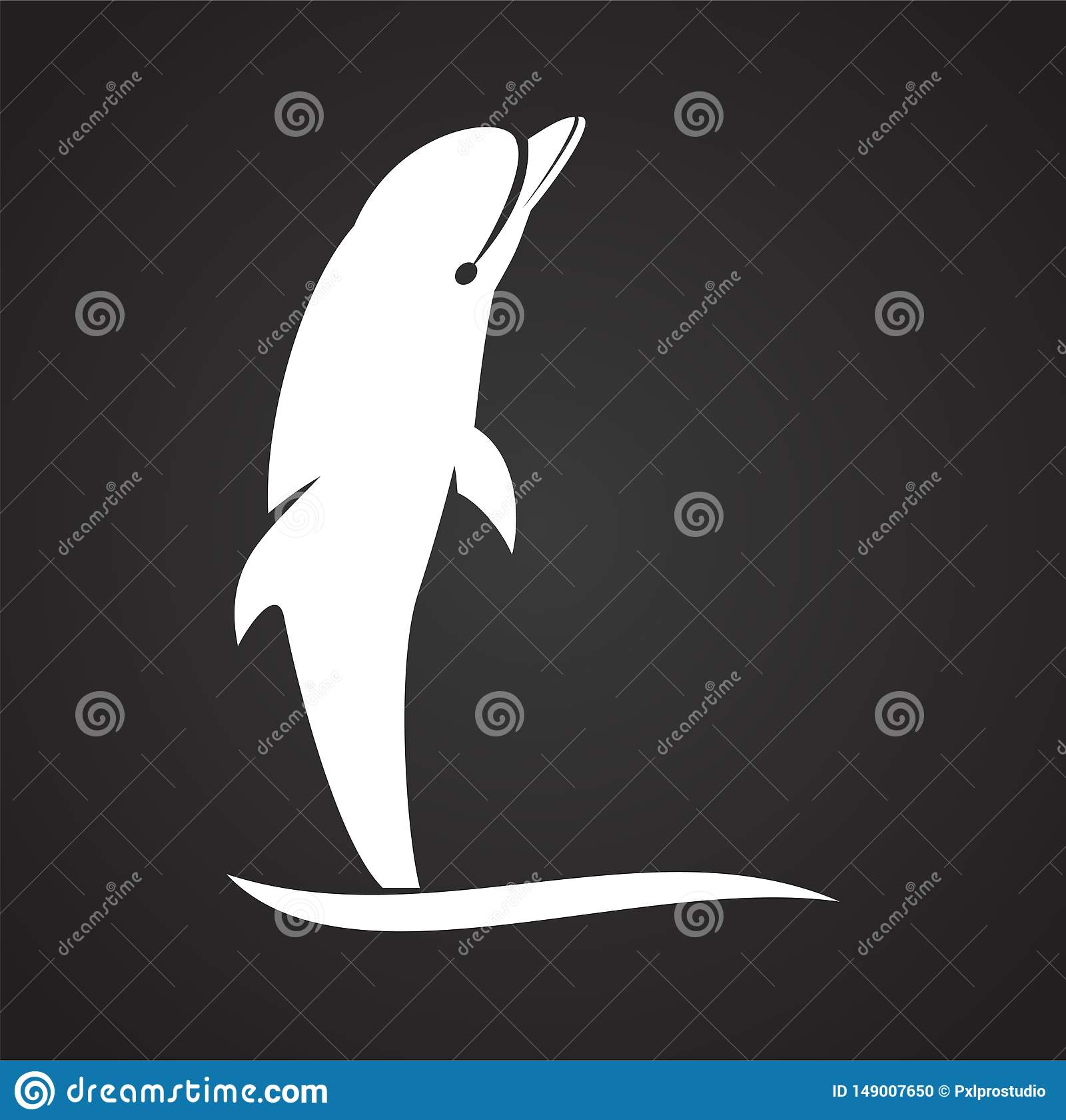 Delfin ikona na tle dla grafiki i sieci projekta samolotu terminal ilustracyjny prosty Internetowy poj?cie symbol dla strona inte