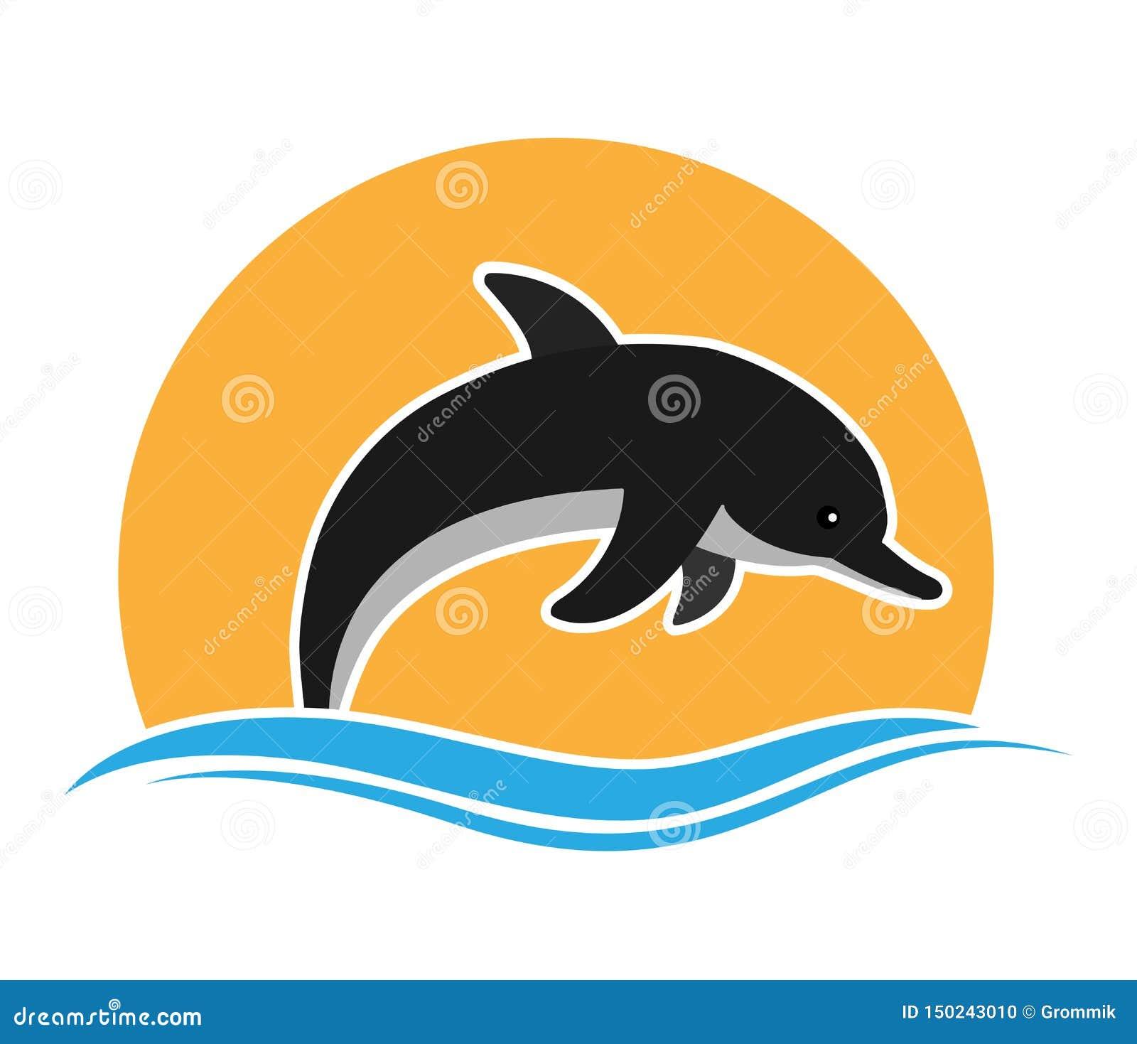 Delfin przeciw falom i słońcu Płaski projekt dla logo