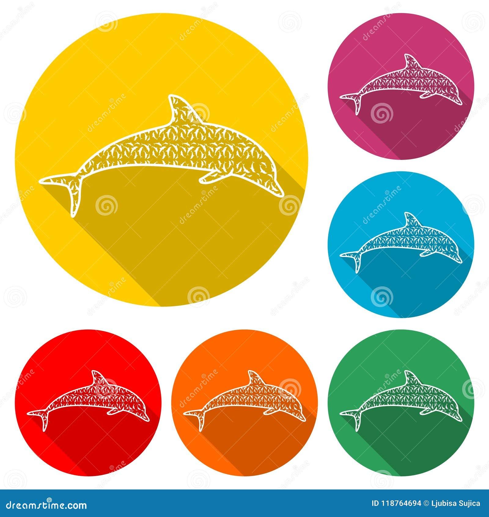Delfin sylwetki rybia zwierzęca ikona, sylwetka delfin, kolor ikona z długim cieniem