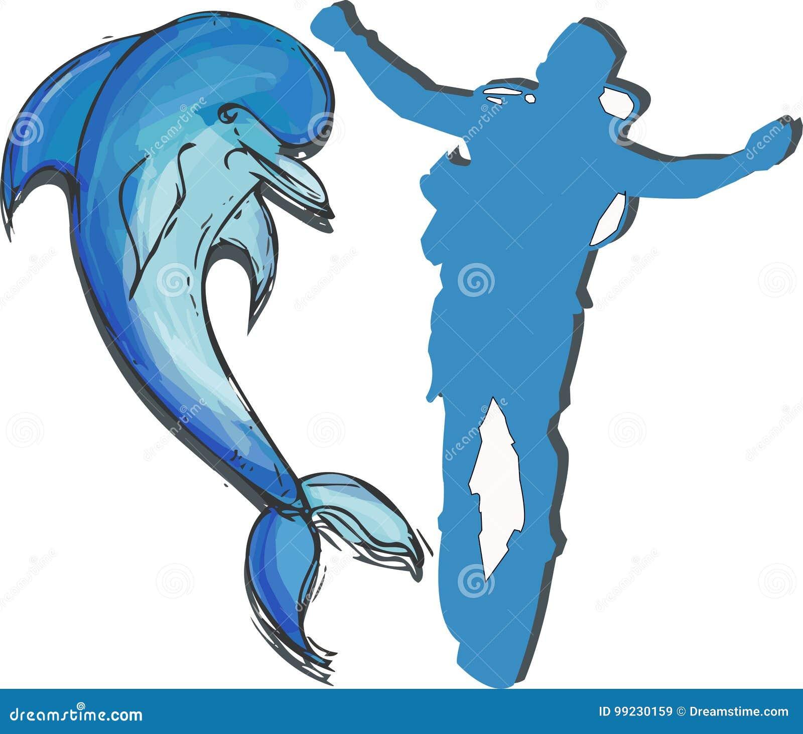 Delfin ustalona ręka rysująca