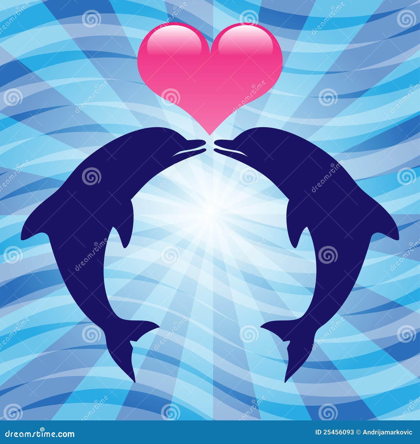 Delfini Di Amore Illustrazione Vettoriale. Illustrazione