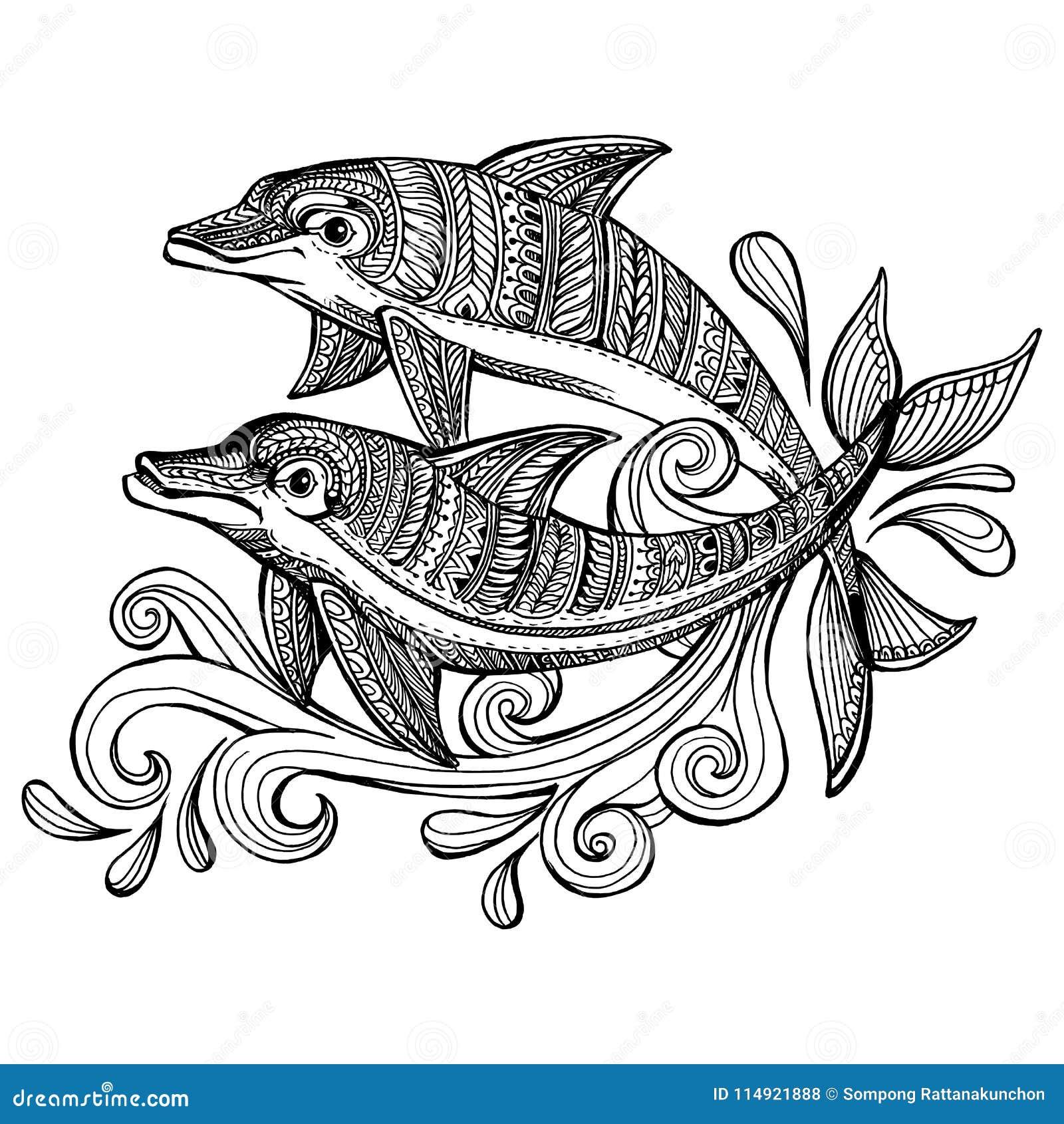 Delfini Disegnati A Mano Di Scarabocchio Con L Onda Del Mare Di