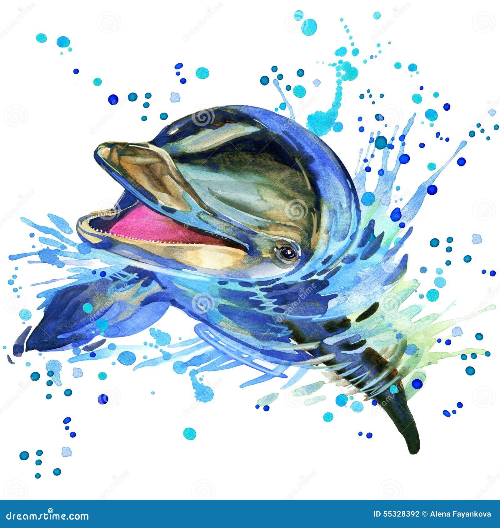 Delfinillustration med texturerad bakgrund för färgstänk vattenfärg