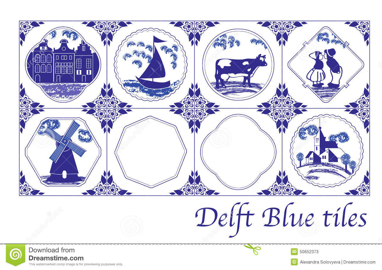 Delft Blue Dutch Tiles With Folk Pictures Stock Vector