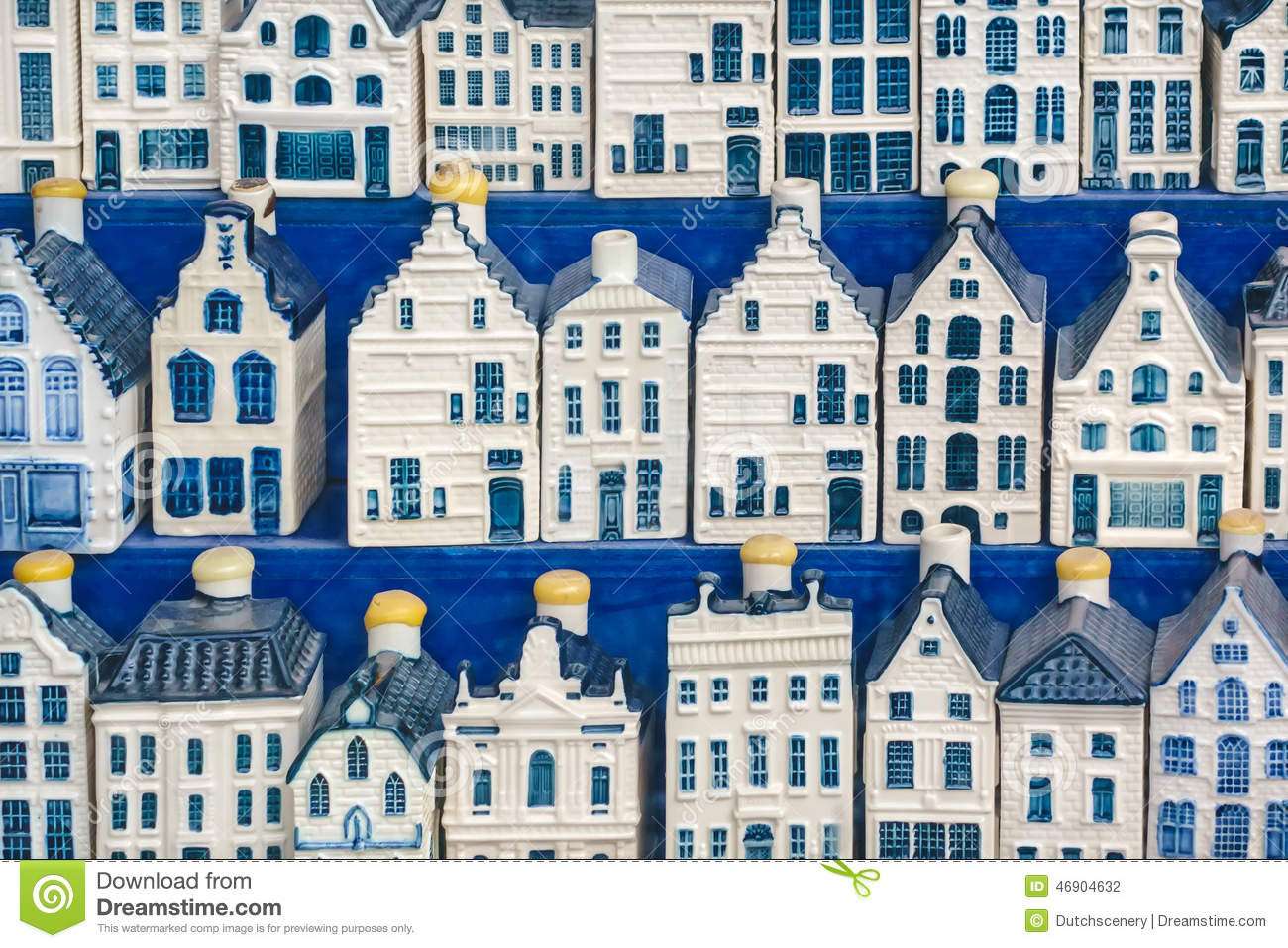 Delft Blue Miniature Amsterdam Canal Houses Stock Photo