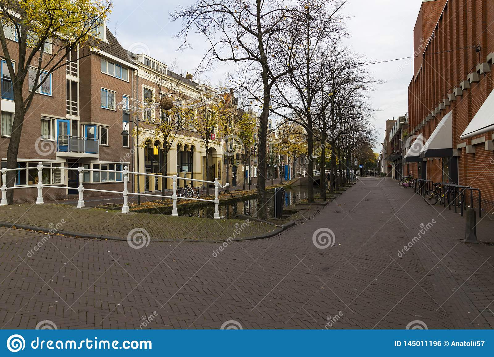Delft city. Netherlands. Street of town at autumn