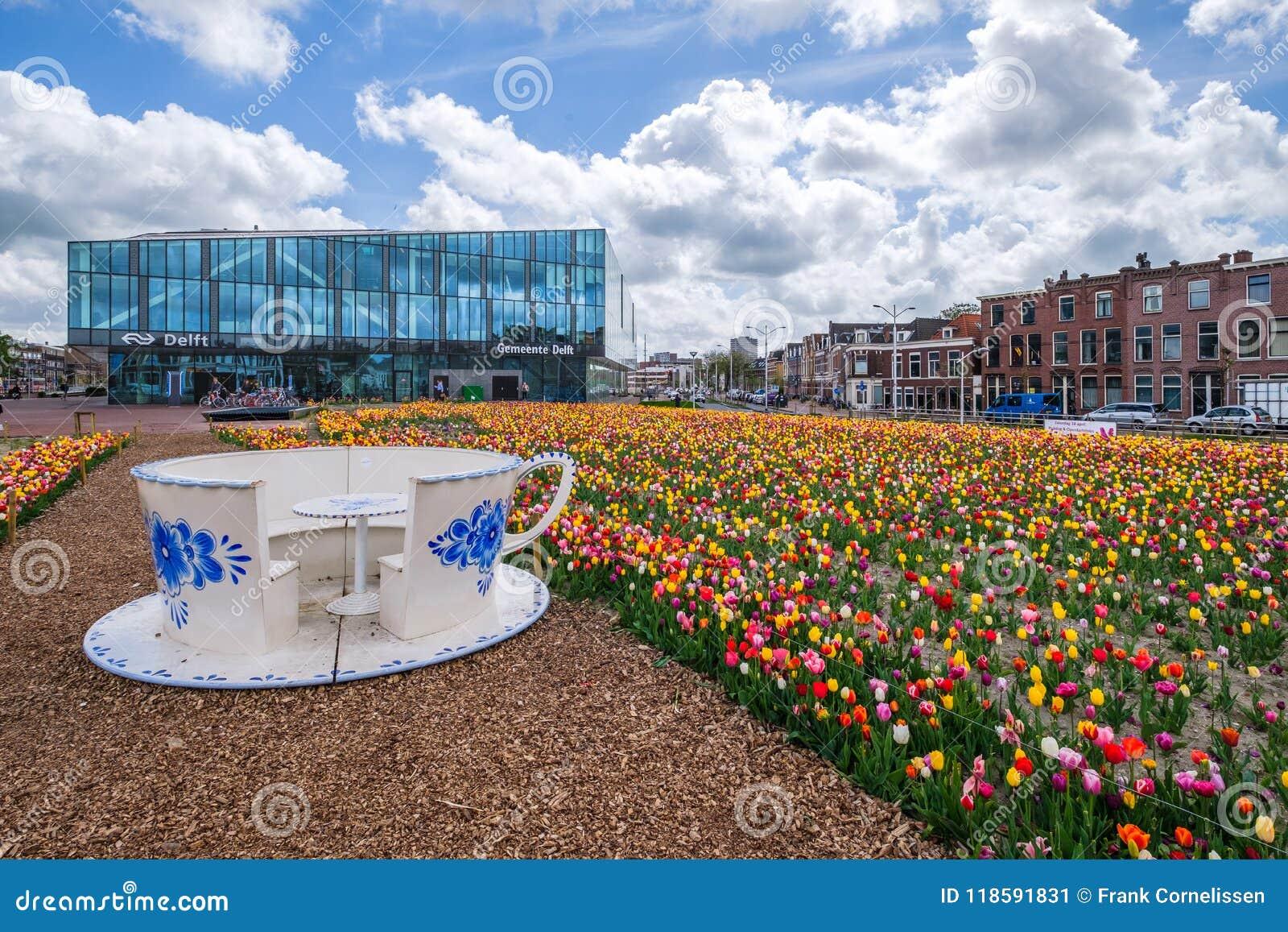 DELFTFAJANS Nederländerna - APRIL 26, 2018: En tulpanträdgård framme av den nya townhallen/järnvägsstationen i delftfajans