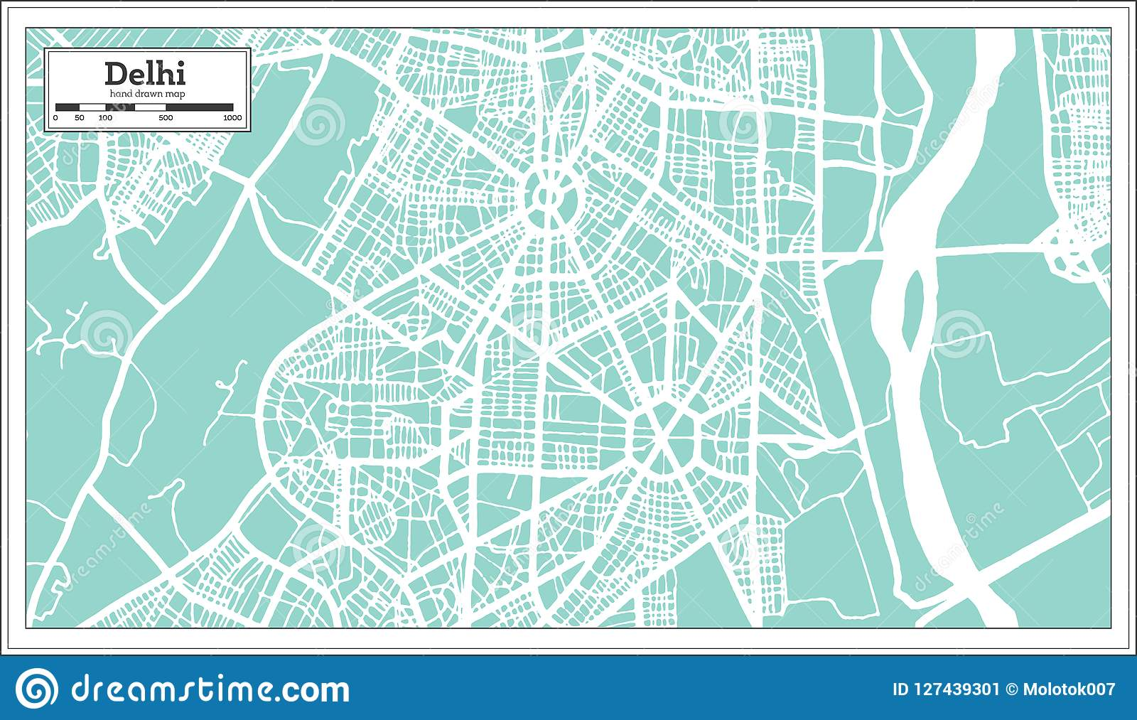 Delhi India City Map In Retro Style. Outline Map. Stock Vector ... on