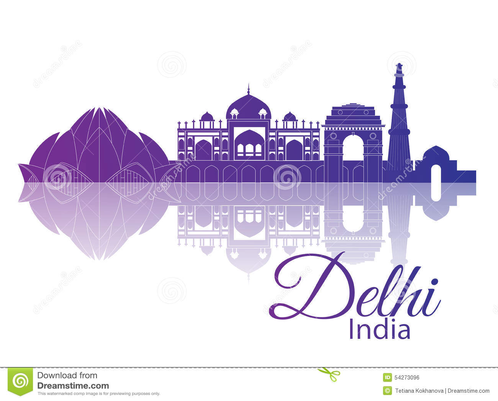 Delhi India City Skyline Stock Vector Image 54273096