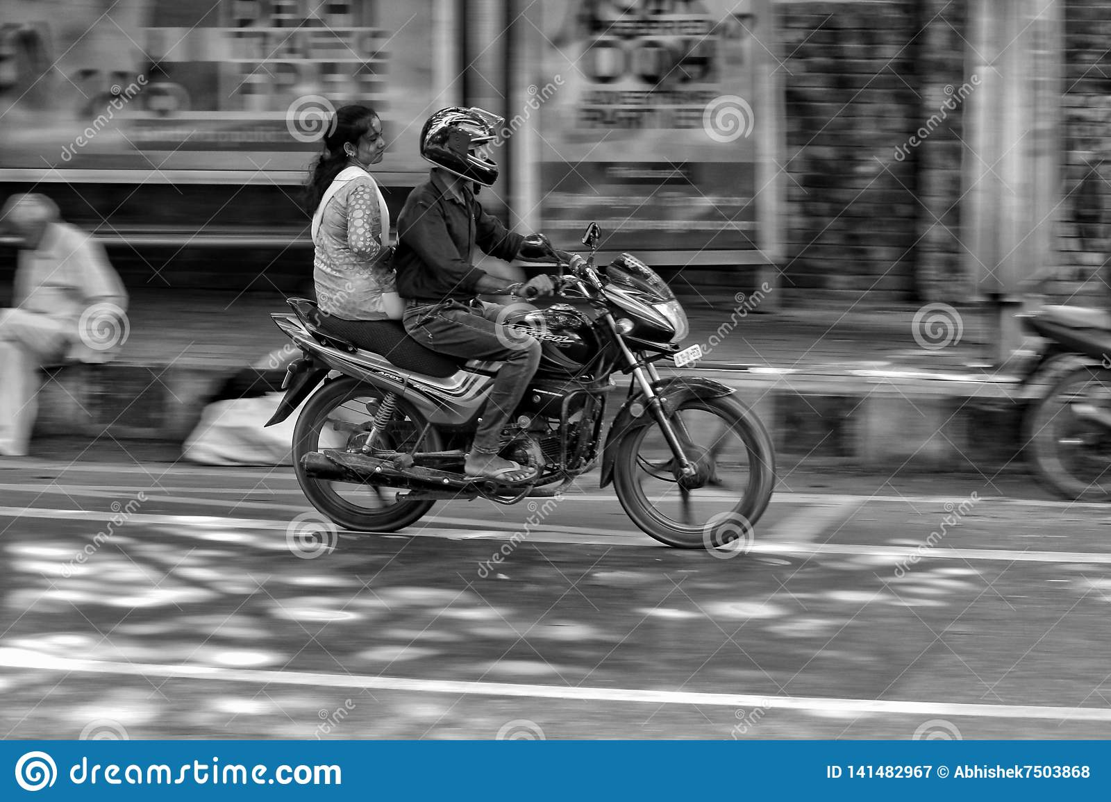 DELHI, INDIA - 17 FEBRUARY 2019: Riding on a Motorbike blurred motion