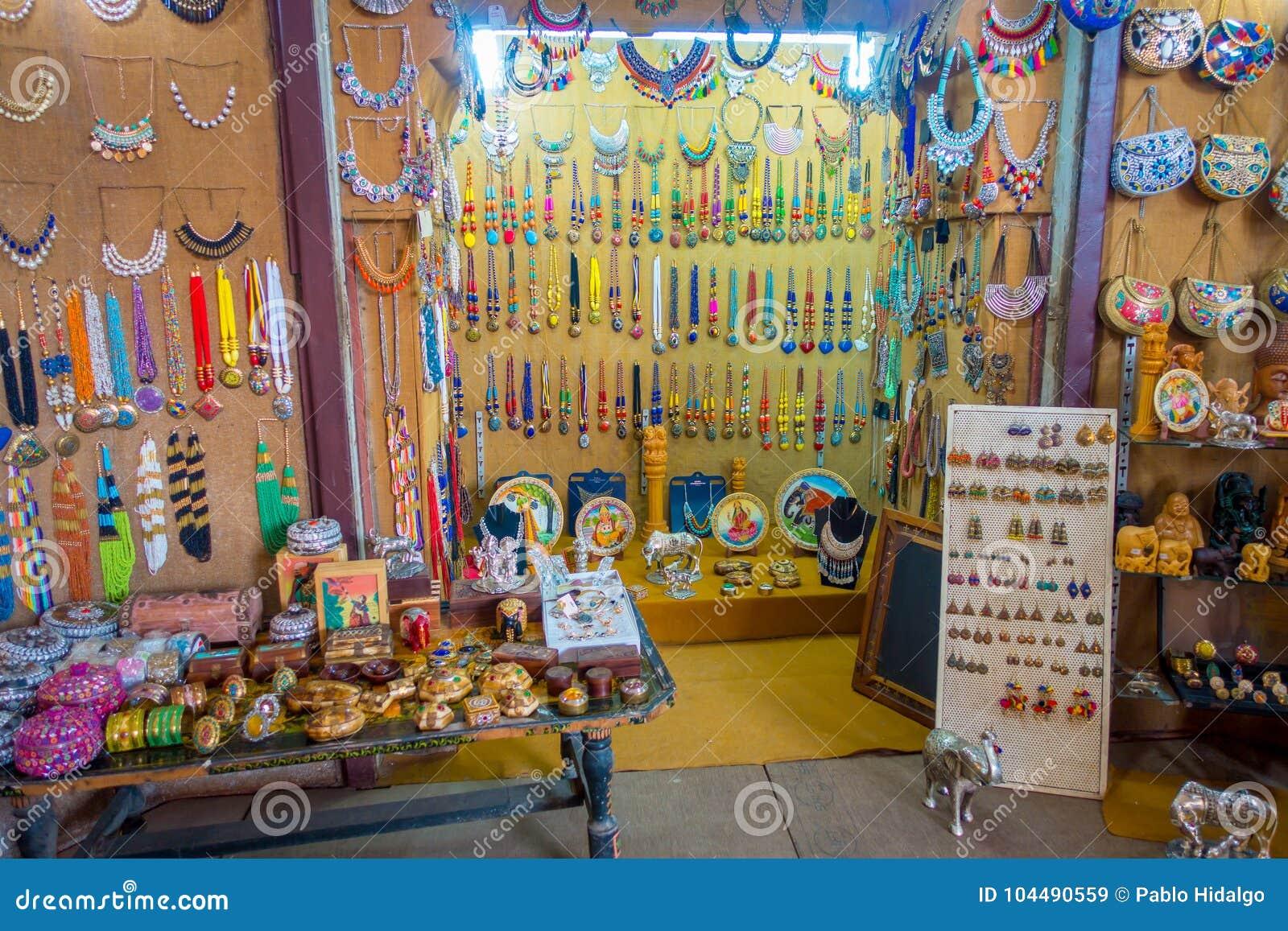 Delhi India September 25 2017 Close Up Of A Market With Handmade