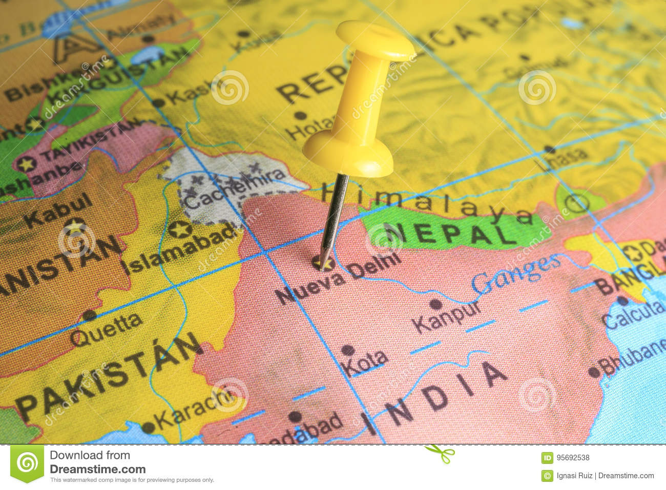 Delhi Pinned On A Map Of India Stock Photo Image Of European