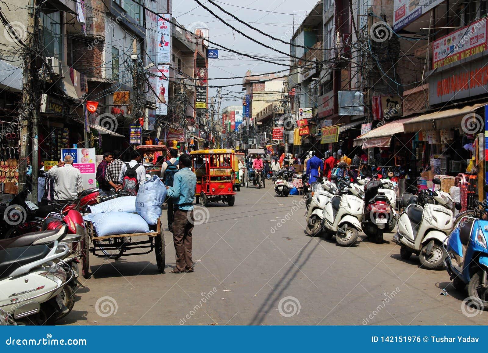 Delhi Sadar Bazar Market with full of Crowd.