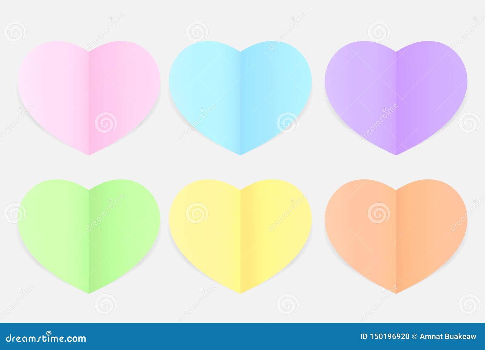 Delicado pastel colorido Coração-dado forma do papel, papel da cor da forma do coração estilo colocado liso do multi, colorido bo