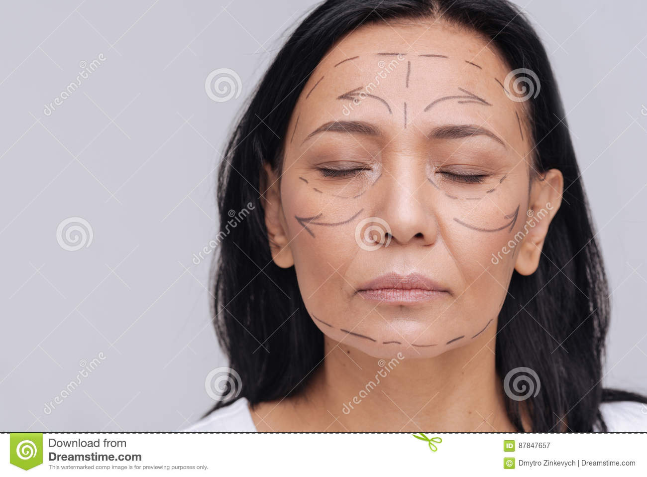 delicate asian woman wanting to get a plastic surgery stock image