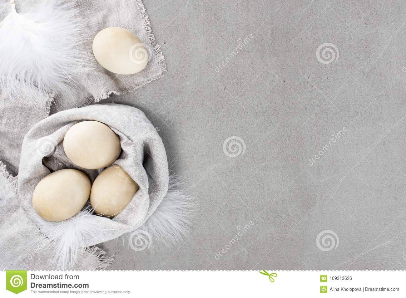 Delicate Easter Background With Beige Eggs Stock Photo - Image of ...