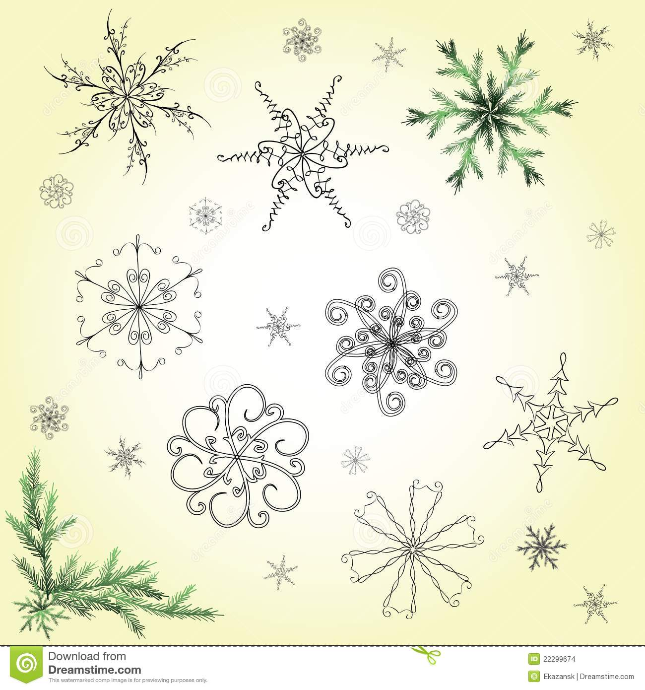 Delicate hand drawn snowflakes set stock images image