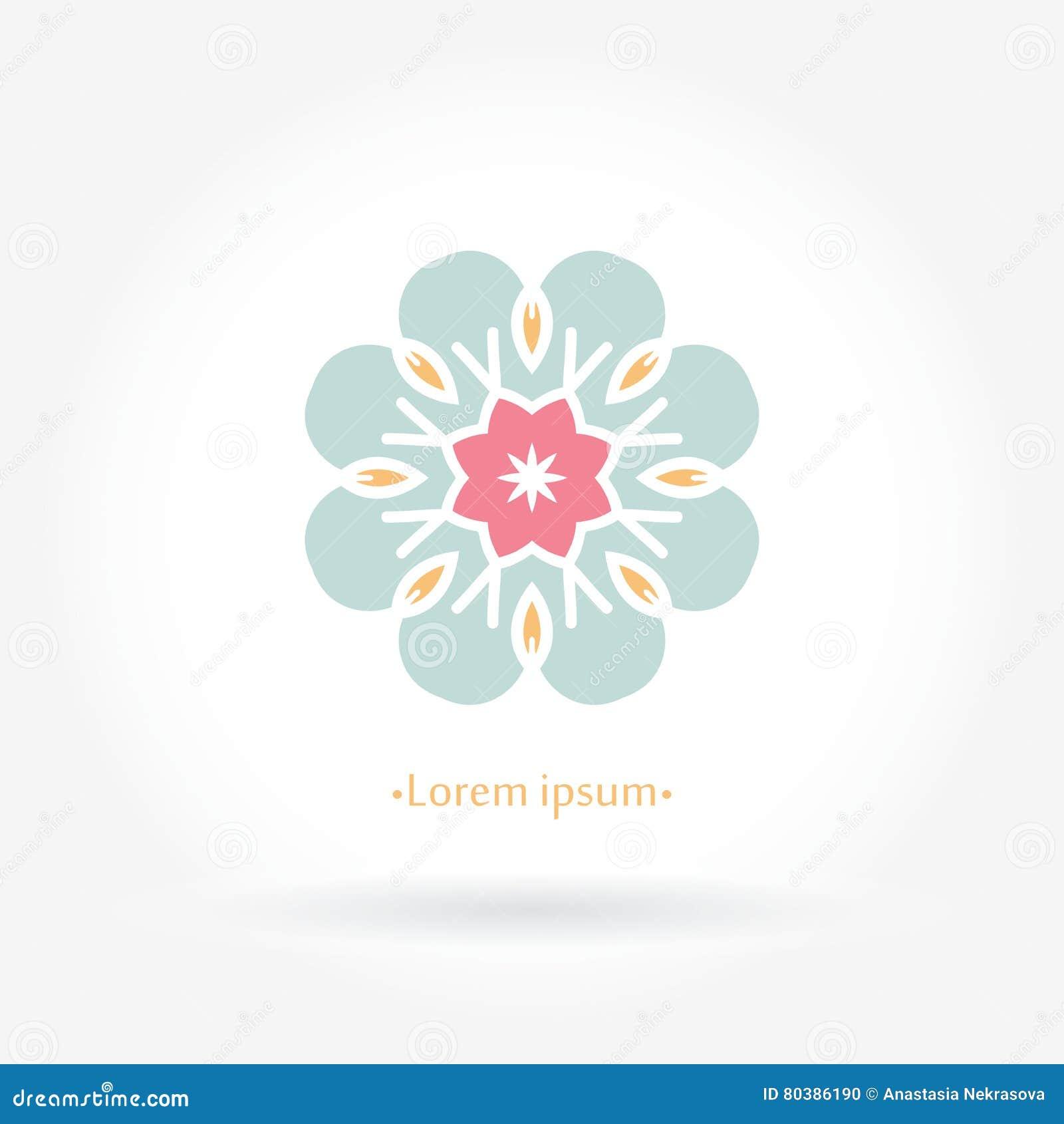 Delicate logo for boutique and interior. Flower logo. Mandala emble