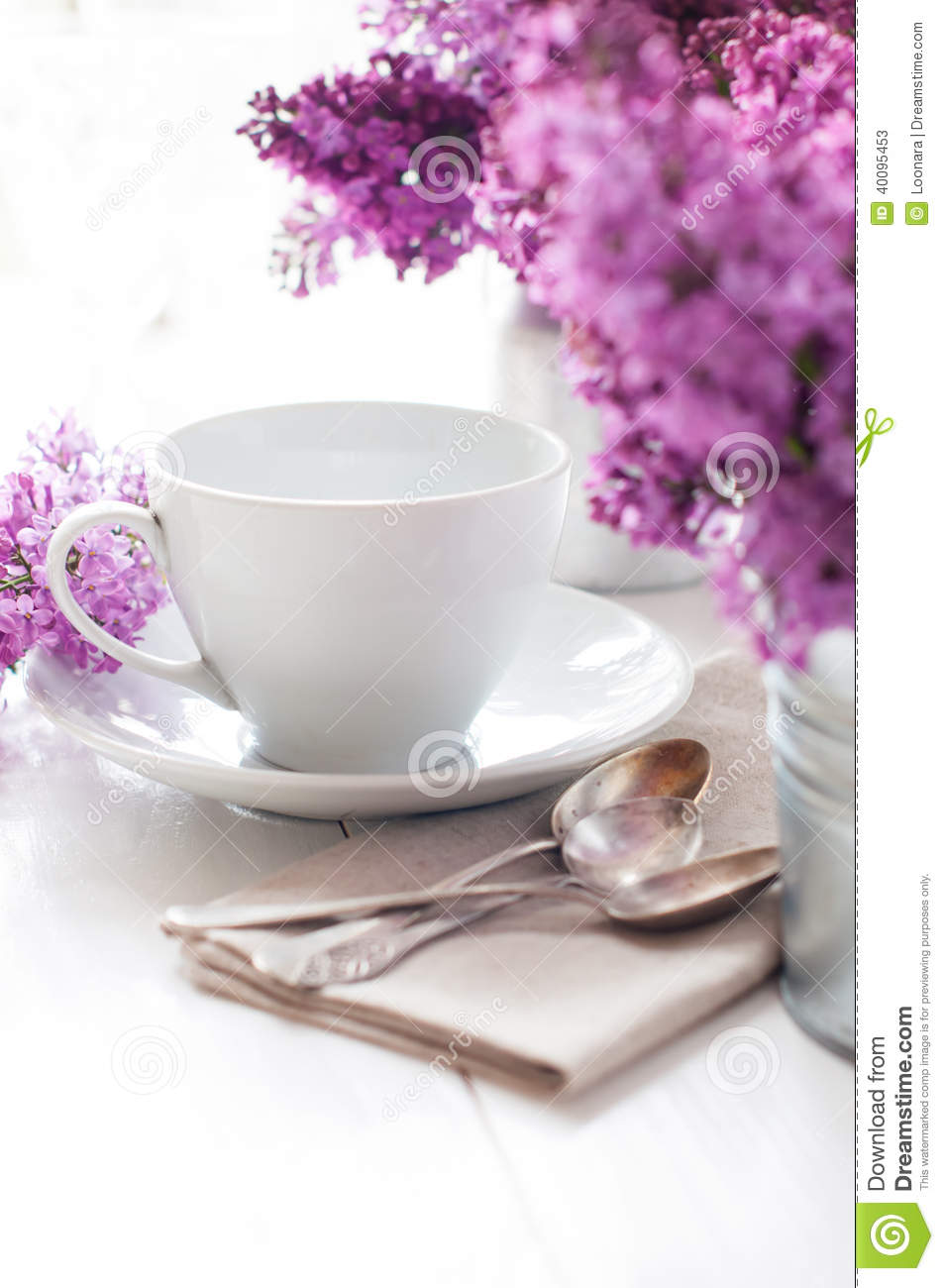 Delicate Morning Tea Table Setting Stock Photo Image  : delicate morning tea table setting lilac flowers vintage spoons utensils white wooden board 40095453 from www.dreamstime.com size 953 x 1300 jpeg 102kB