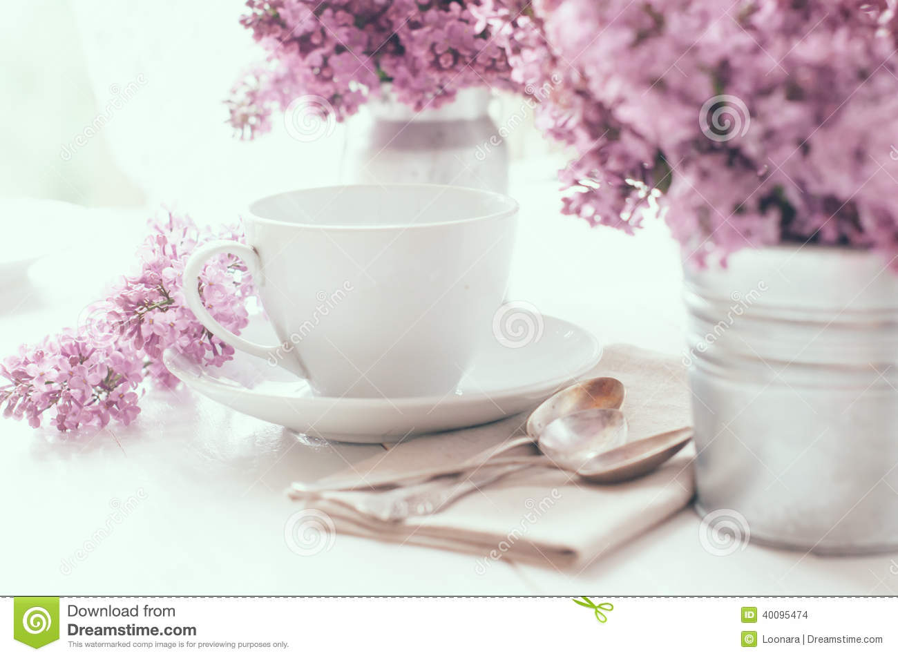 Delicate Morning Tea Table Setting Stock Photo Image