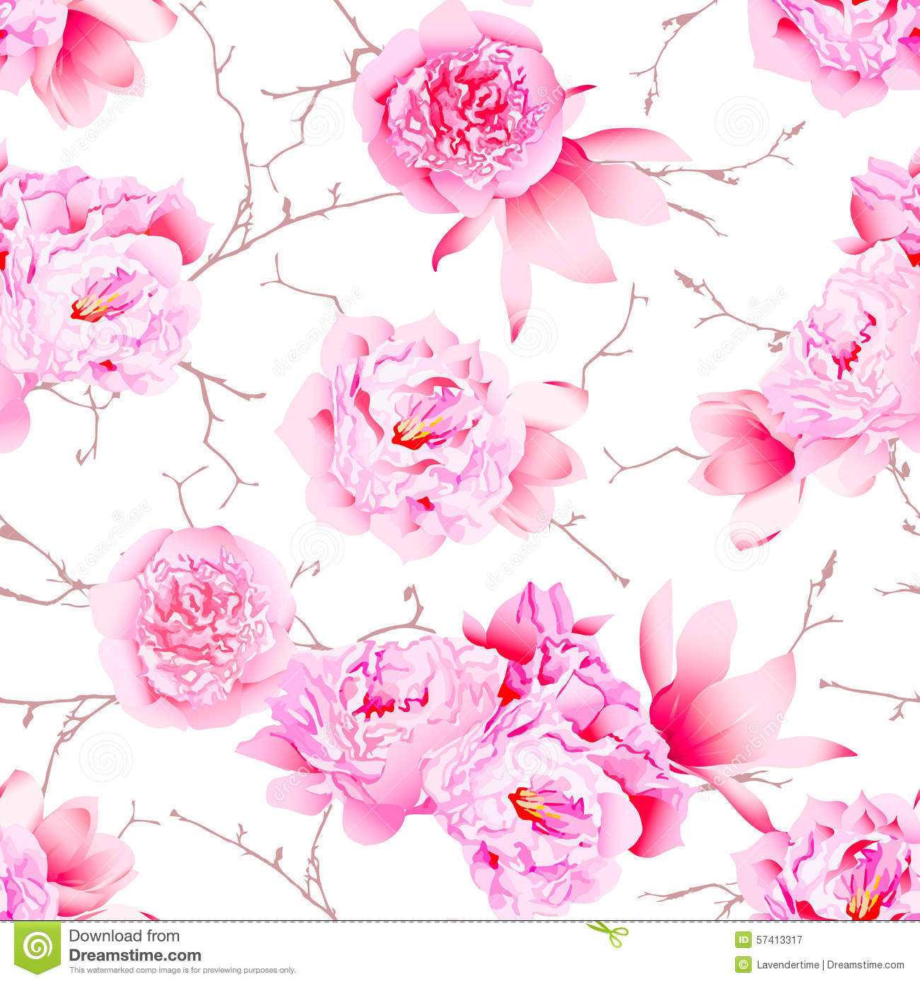 Delicate peonies and camellia floral seamless vector print