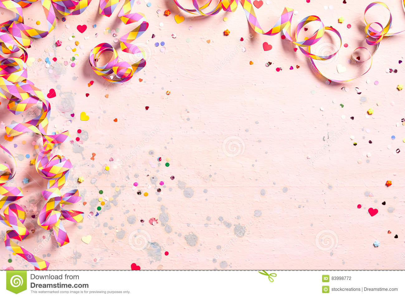 delicate pink party background with streamers stock photo image of