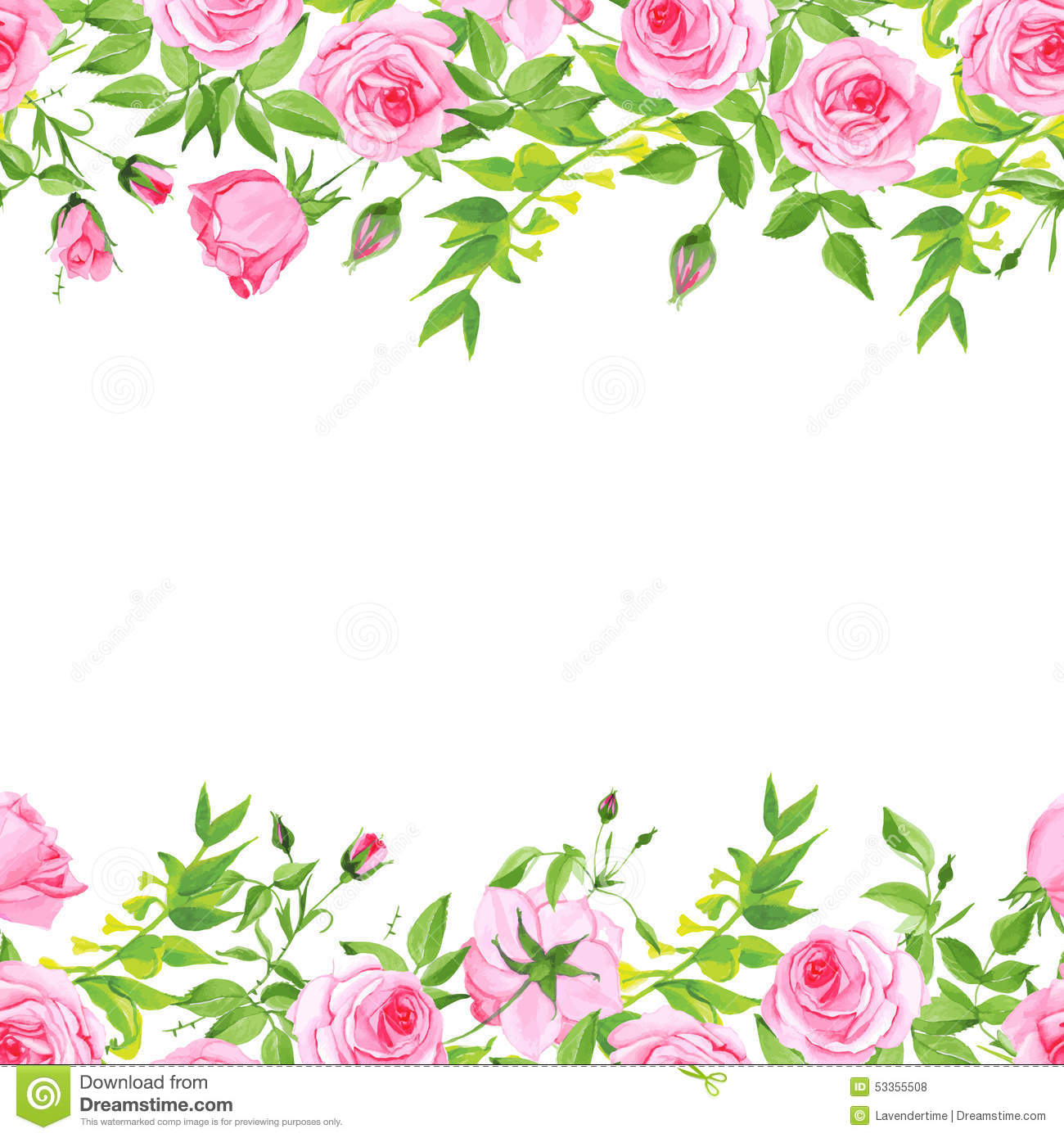 Delicate Pink Roses Floral Vector Background Stock Vector