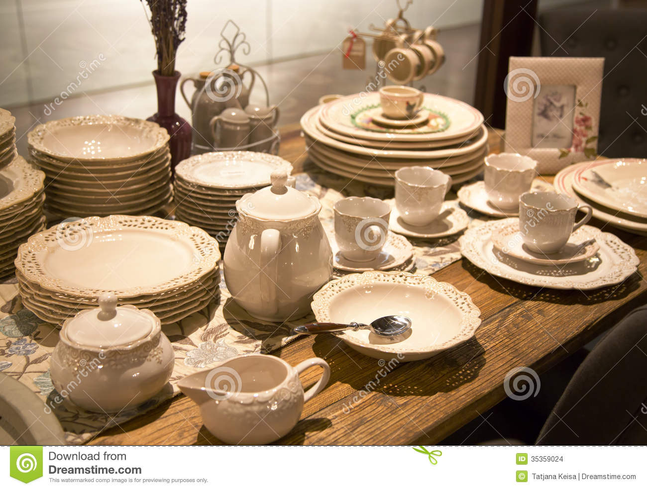 Delicate porcelain tableware & Delicate Porcelain Tableware Stock Photo - Image of china dining ...