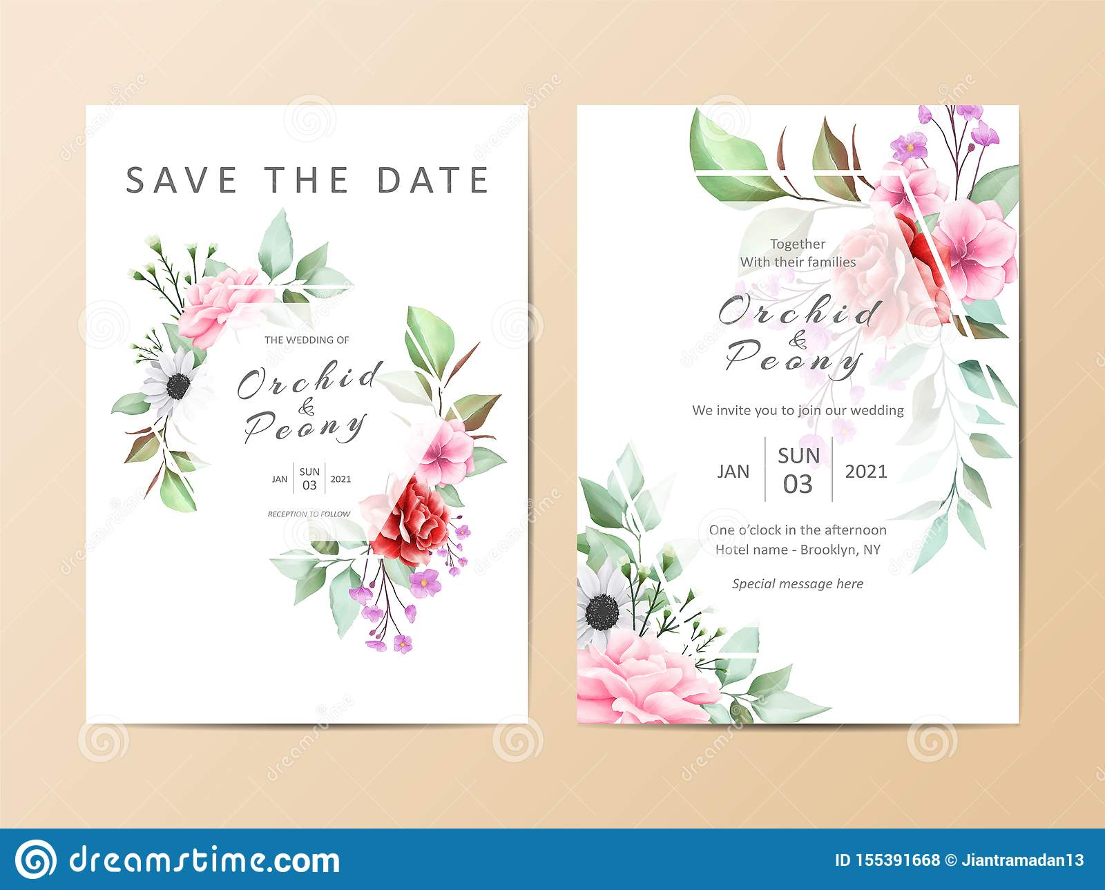 Delicate Watercolor Floral Wedding Invitation Card Template