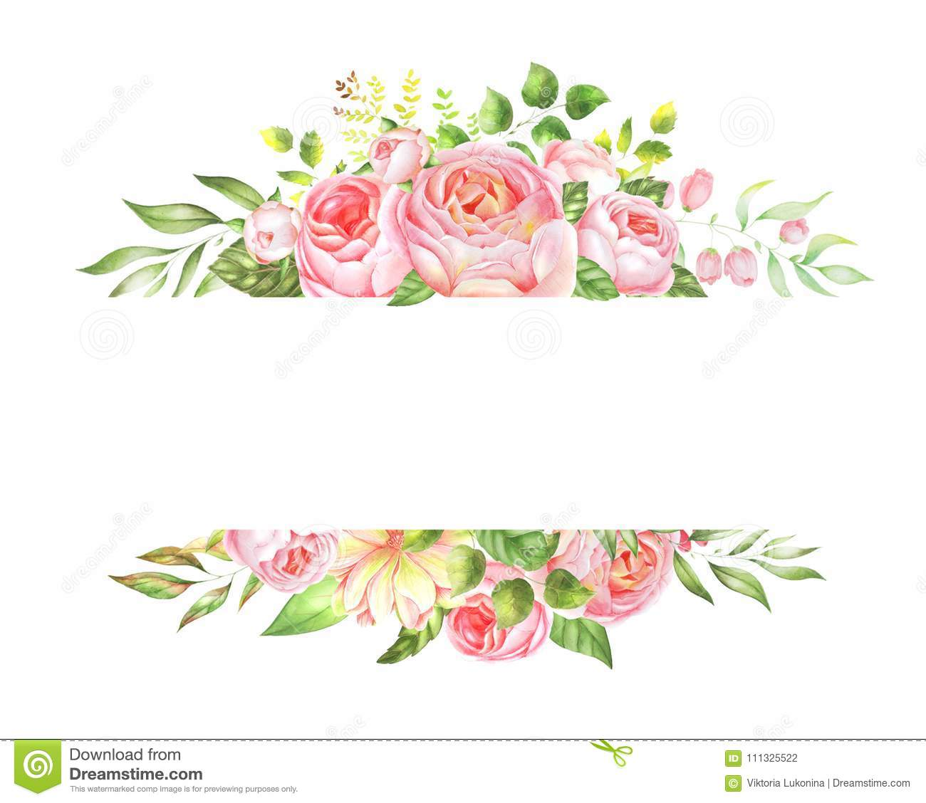 Delicate Watercolor Frame Of Roses Stock Illustration Illustration