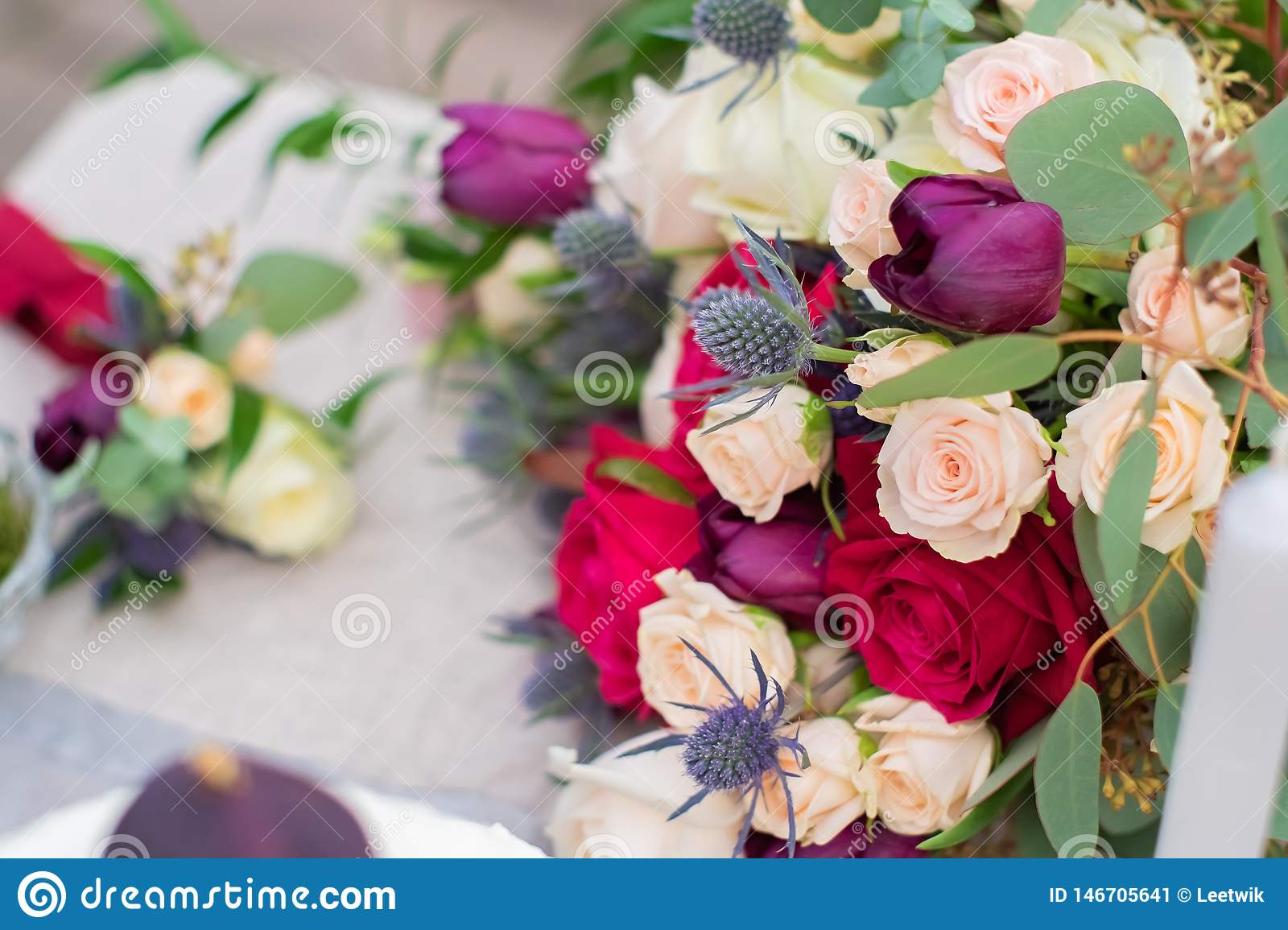 Delicate Wedding Bouquet With Burgundy Cream Pink Roses And Feverweed Closeup Stock Image Image Of Delicate Design 146705641