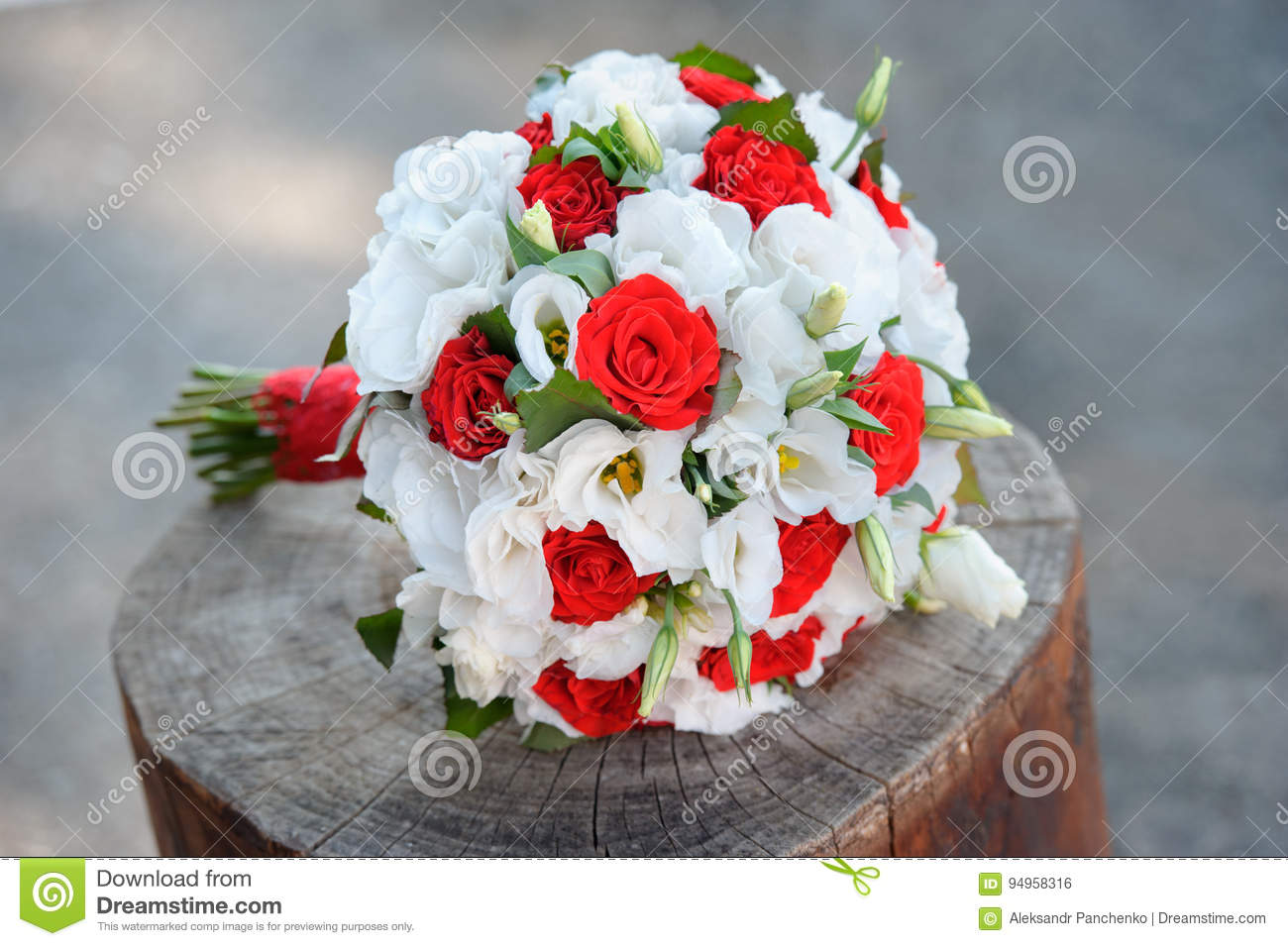 Delicate Wedding Bouquet In White And Red Colors Flowers Stock Photo ...