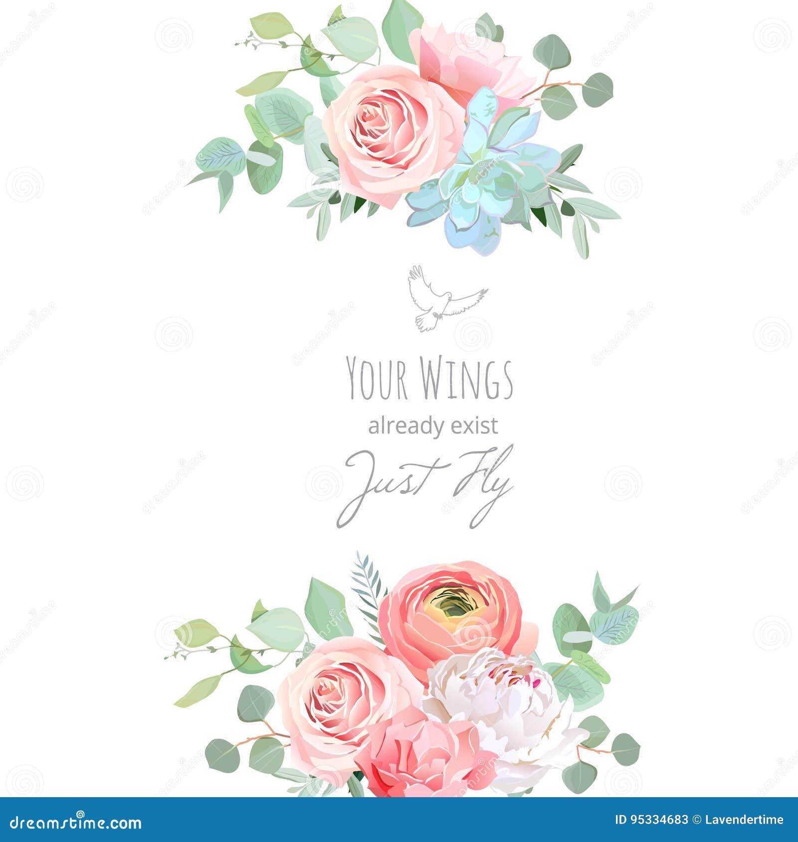 Delicate Wedding Floral Vector Design Card Stock Vector ...