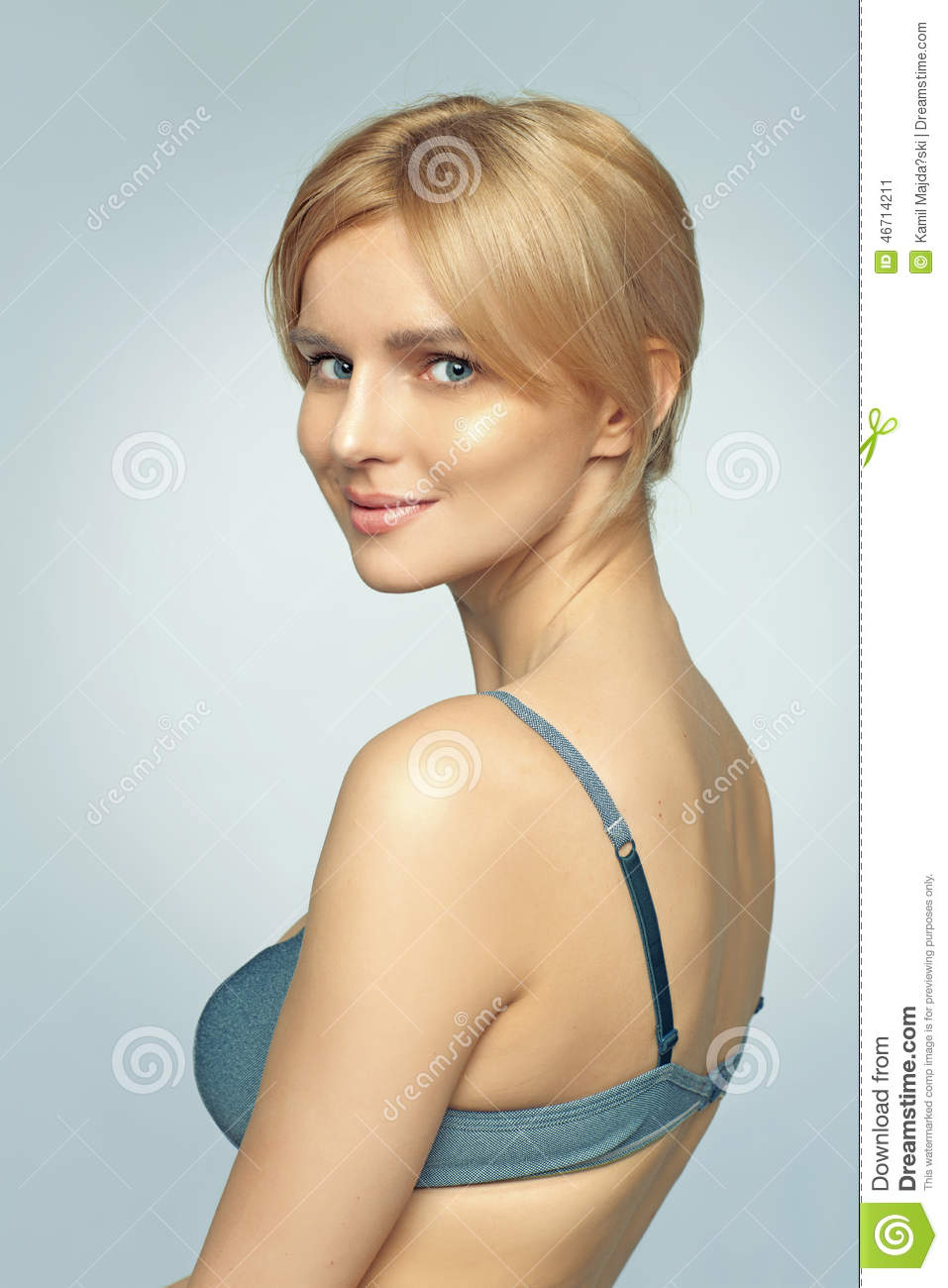 Delicate Young Woman Wearing Blue Bra Stock Image - Image ...