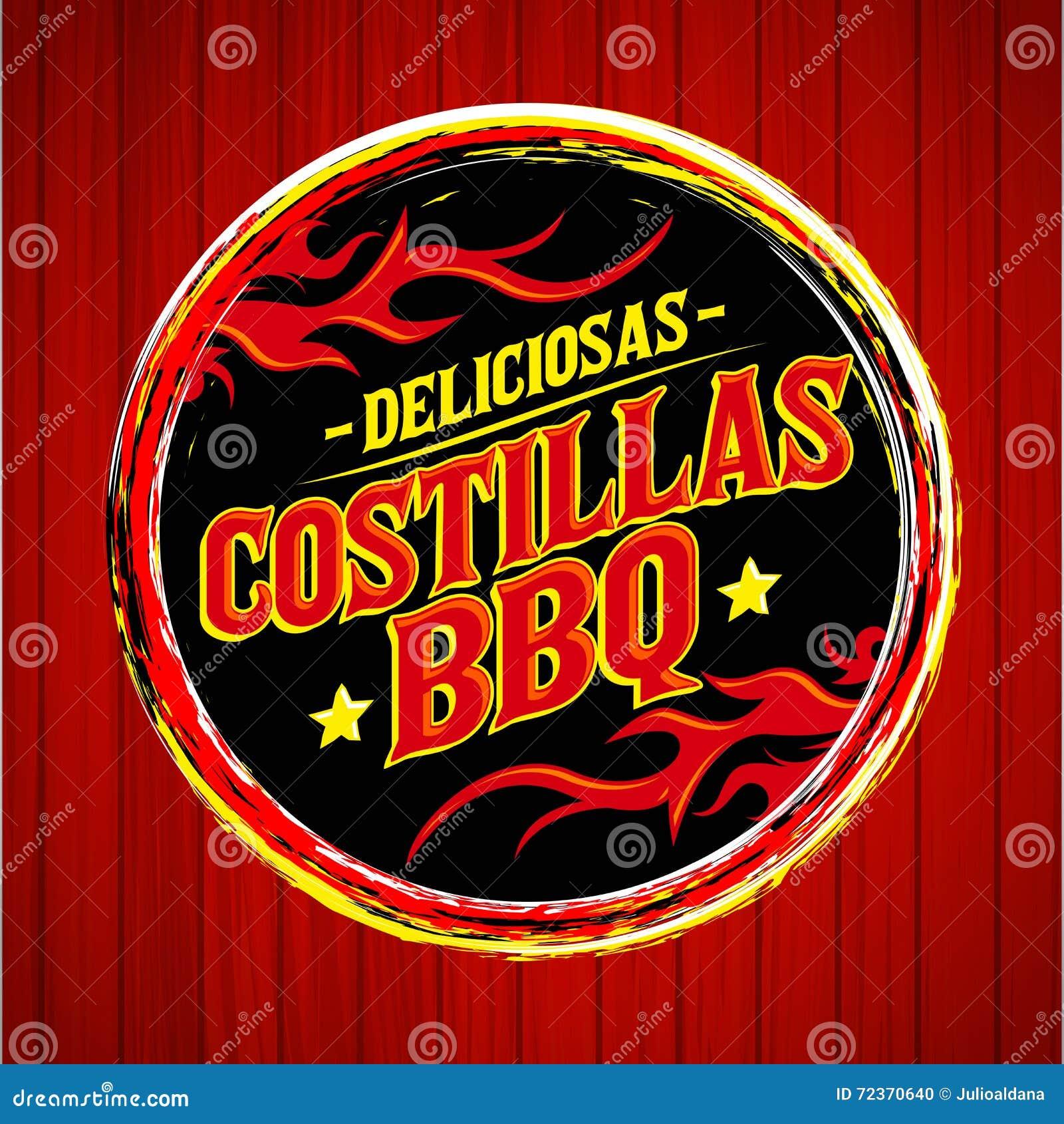 Deliciosas Costillas BBQ -可口BBQ取笑西班牙文本