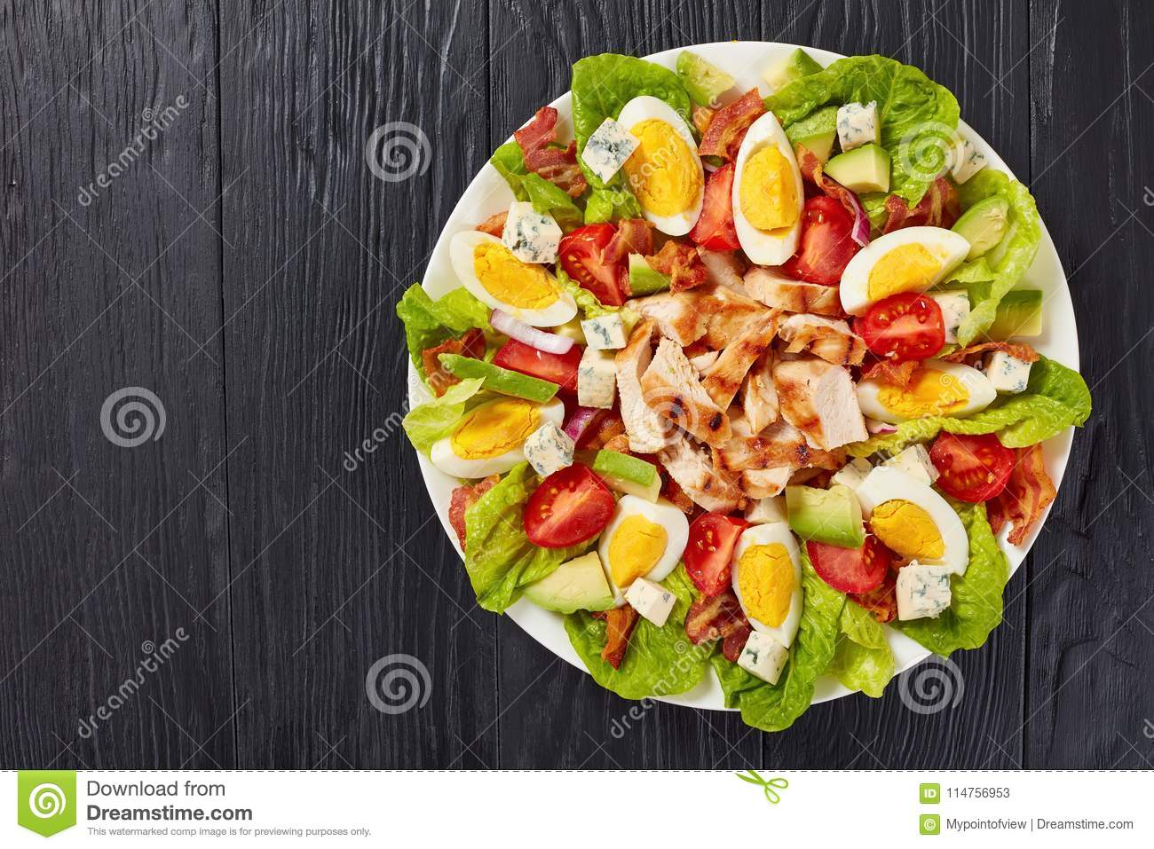 Delicious american cobb salad on plate