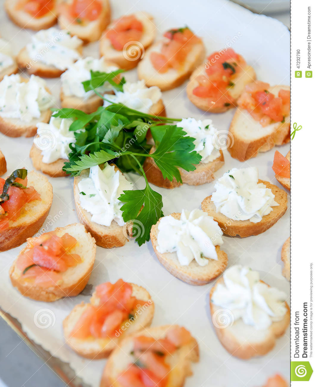 Delicious appetizer canapes stock photo image 47232790 for Appetizer canape