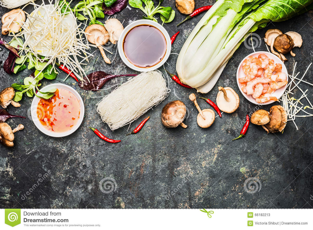 Delicious asian cooking ingredients for thai or chinese for Asian cuisine ingredients