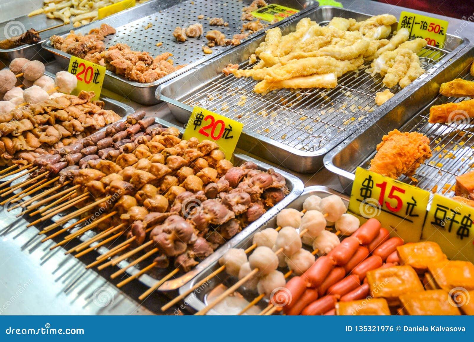 Asian food on night food court/market