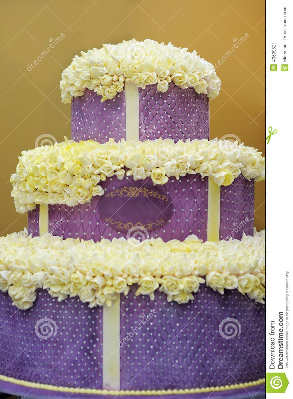 Delicious Big Violet Wedding Cake Stock Photo Image