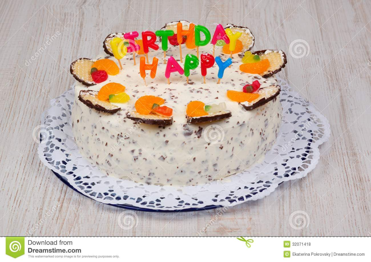 Delicious Birthday Cake With Candles Royalty Free Stock ...