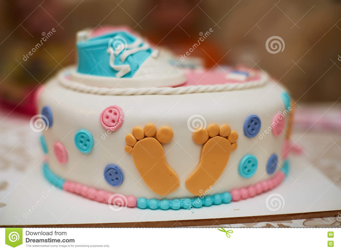 Delicious Birthday Cake On Table Stock Image Image Of Decorated