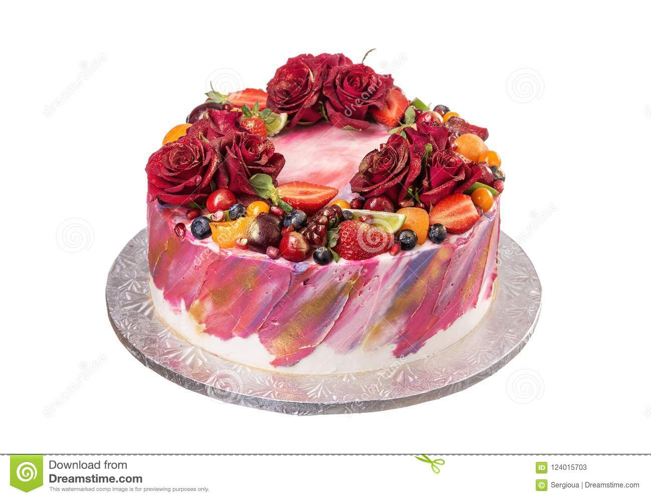 Delicious Cake Decorated With Flowers And Fruits On Birthday