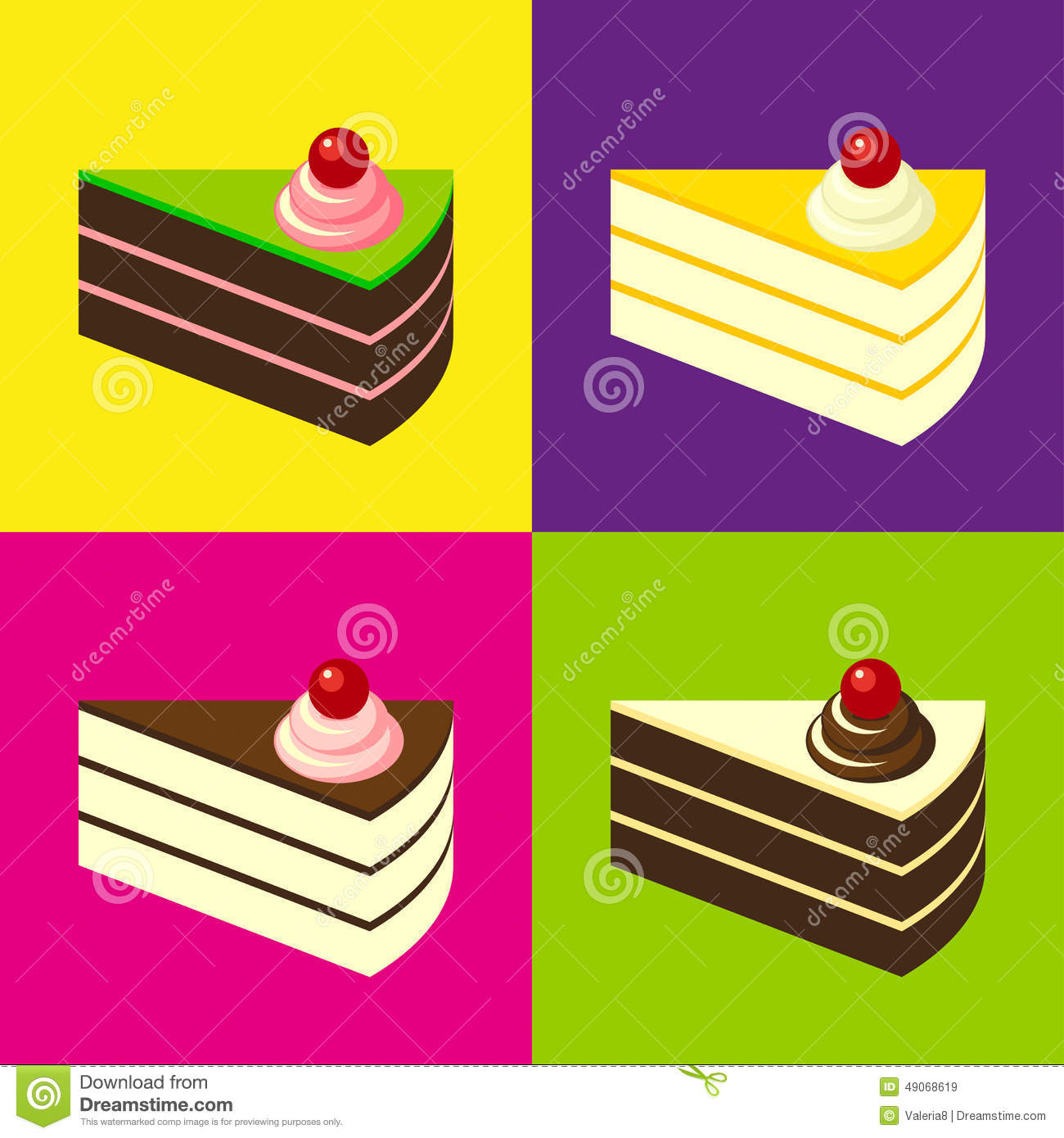 delicious cakes on colourful tiled background pop art style stock illustration image 49068619. Black Bedroom Furniture Sets. Home Design Ideas