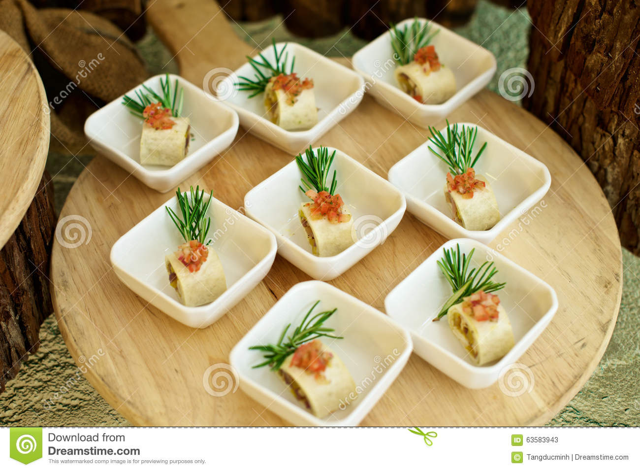 Delicious canap s starters stock photo image 63583943 for Canape restaurant