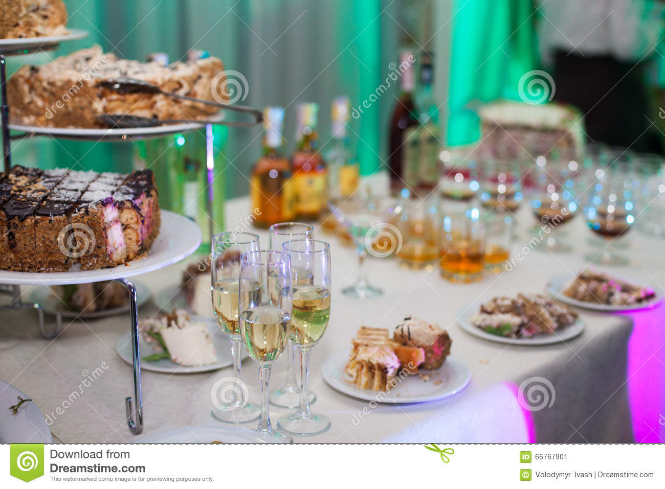 Delicious Candy Bar At Wedding Reception With Cakes Champagne