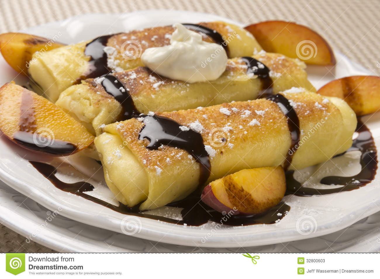Delicious Cheese Blintzes In Closeup Stock Photos Image