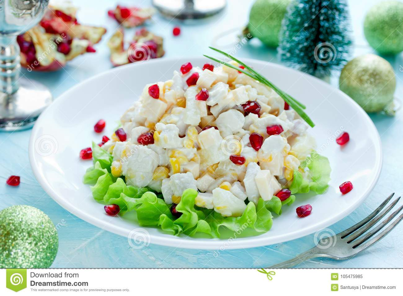 Very tasty salad with pineapple and cheese and chicken
